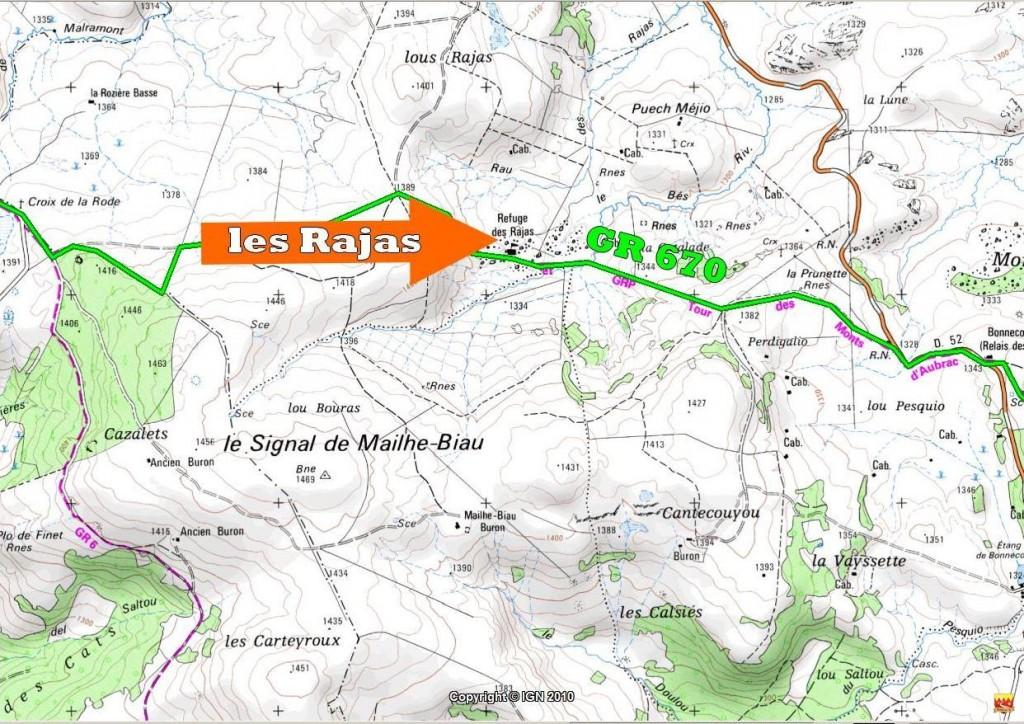 Carte  gîte Rajas